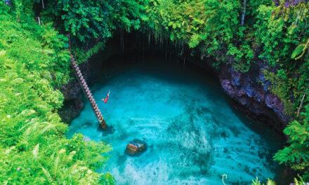 Trampolín a la boca de To Sua, Samoa