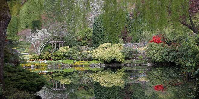 Jardines-de-Butchart-estanque