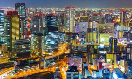 La ciudad de Osaka, Japón