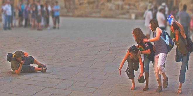 Turistas en pose