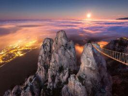 El puente suspendido de Ai-Petry, Ucrania