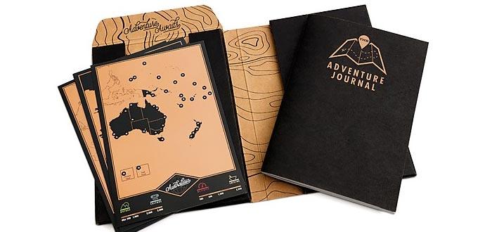 Regalos para viajeros, diarios de aventuras con mapas de rascar