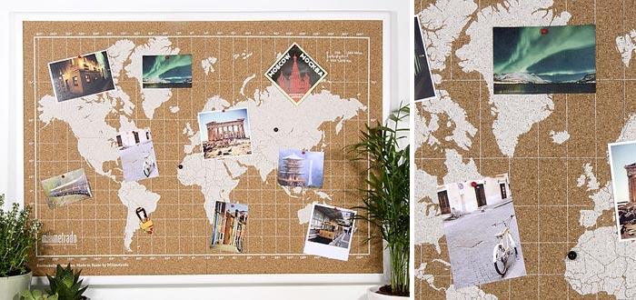 regalos para viajeros, tablero de corcho mapamundi