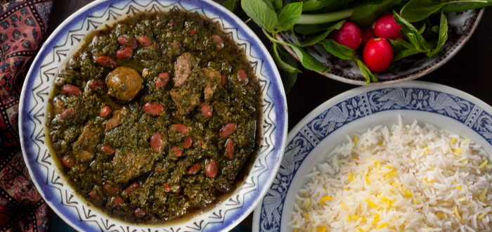 Comida típica de Irán. Ghormeh Sabzi