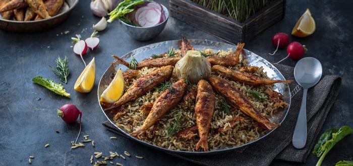 Comida típica de Irán. Polo Baghali