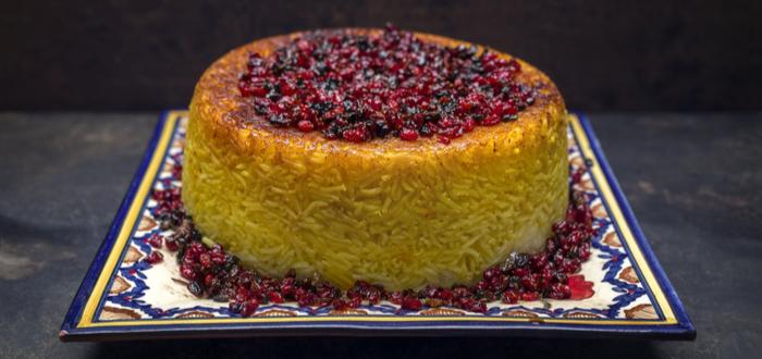 Comida típica de Irán. Tahdig