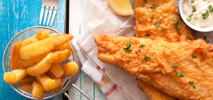 Comida típica de Nueva Zelanda. Fish and Chips