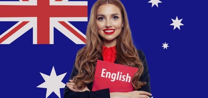Estudiante de inglés y bandera de Australia