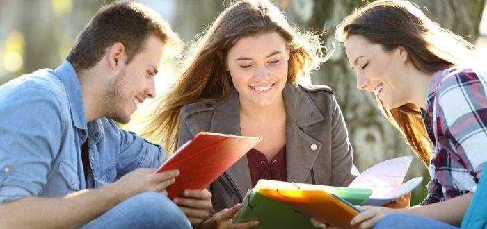 Jóvenes estudiando al aire libre