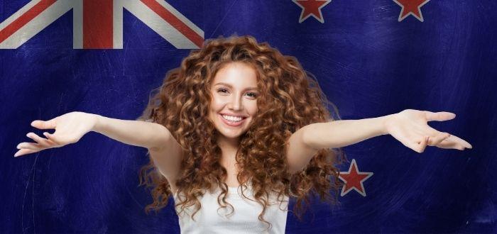 Viajero feliz en el país kiwi
